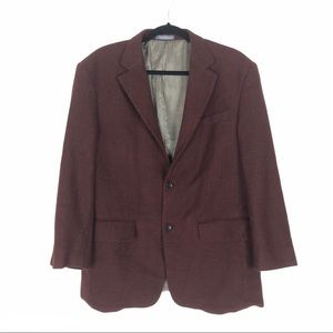 Oscar De La Renta maroon long sleeve button blazer